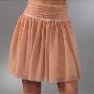 Club Monaco Olga Pale Peach Pleated Tulle Mini Skirt with Back Zipper Size 2